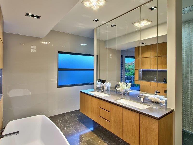 Custom-Vanities-Brisbane-Gold-Coast-Black-Stone-Vanity-Bench-Top-with-Timber-Cupboards