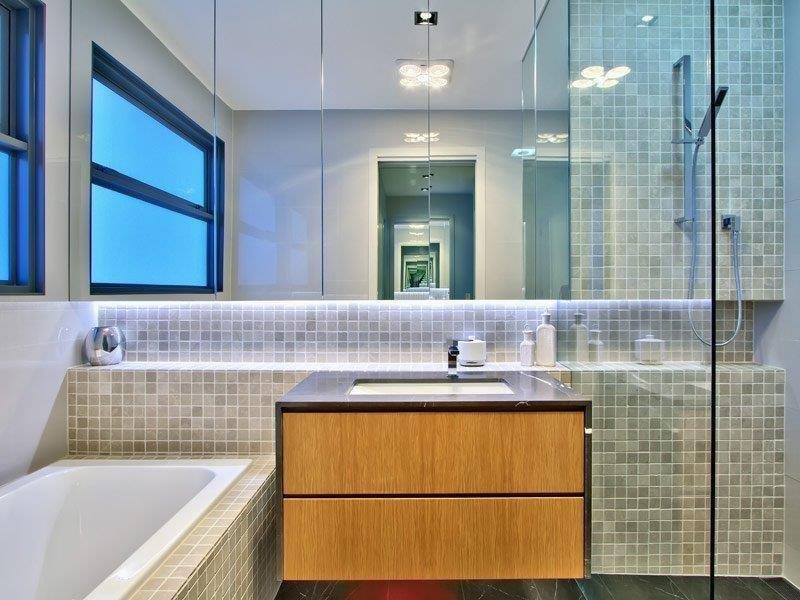 Custom-Vanities-Brisbane-Gold-Coast-Timber-Draws-with-Black-Stone-vanity-Bench-Top