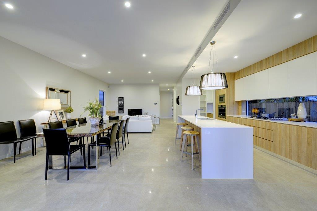 Kitchens-Renovations-Brisbane-Wood-Cupboards-with-White-Bench-Top