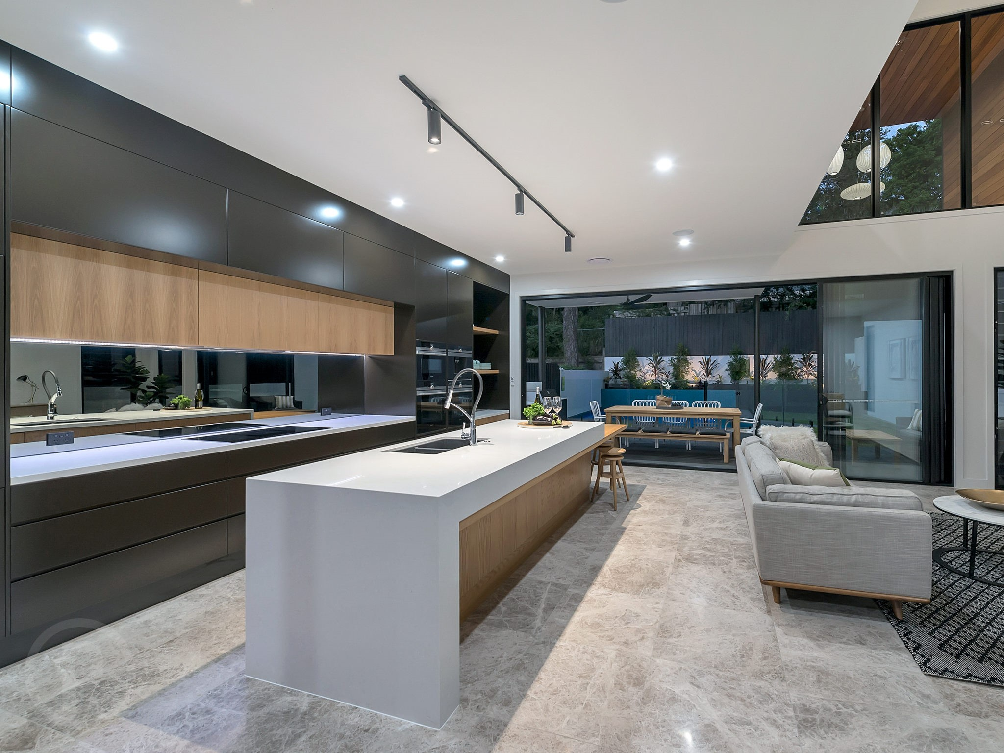 Custom-kitchen-waterfall-end-black-cabinets-Brisbane-Gold-Coast