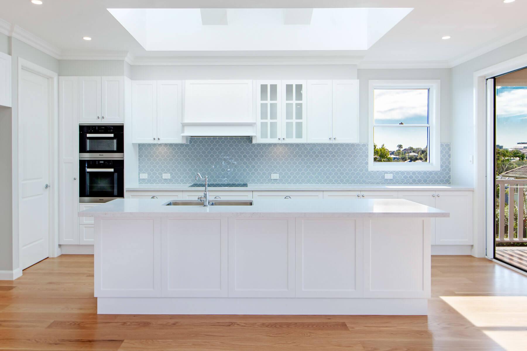 Custom kitchen geometric tile splashback Brisbane Gold Coast