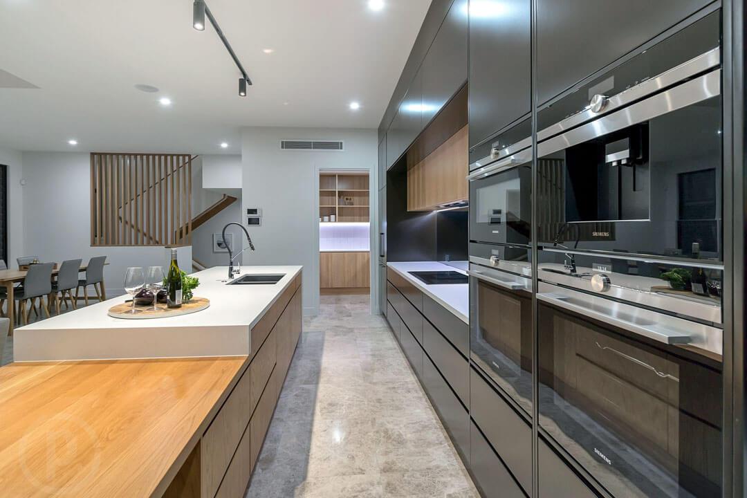 Custom kitchen handleless cabinets Siemens appliances Gold Coast Brisbane