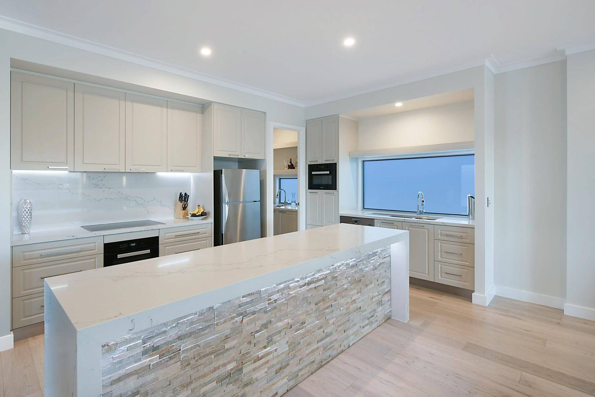 Custom kitchen island bench stone benchtops neutral colours Brisbane Gold Coast